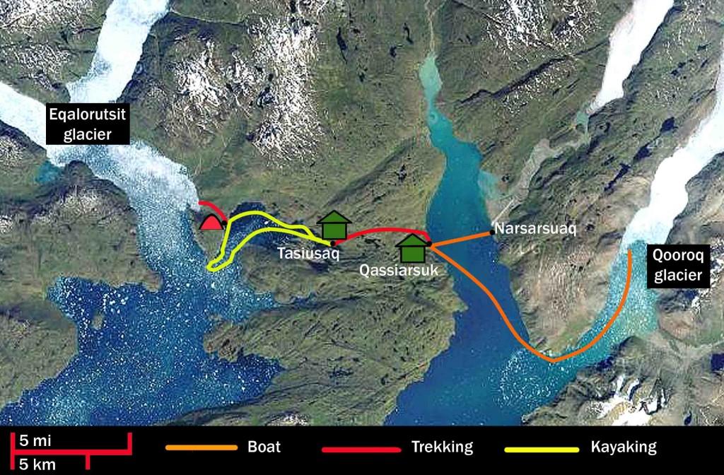 Extensión Islandia: Kayak en Groenlandia, mapa ruta