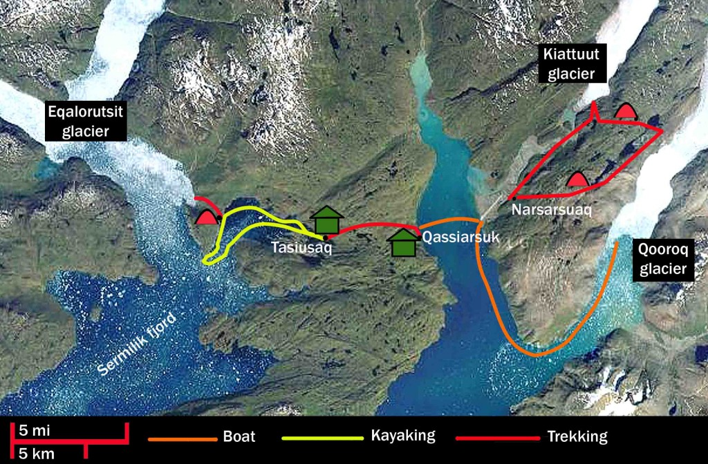 kayak in Greenland. Trekking and kayak trip route map