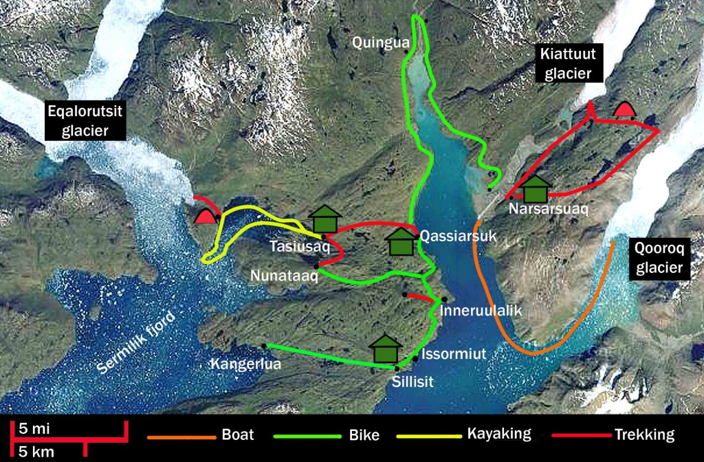 kayak in Greenland. Kayak, bike and trekking route map