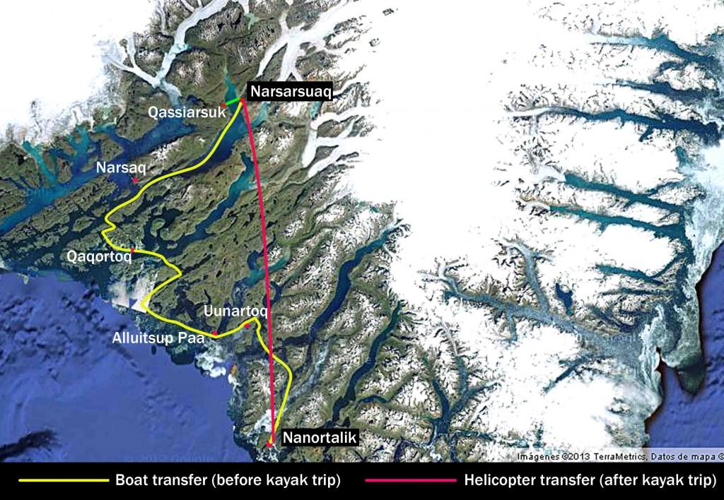 kayak groenlandia, tasermiut rutas mapa