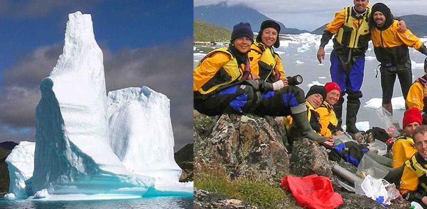 kayak Groenlandia, icebergs y grupo en el fiordo Maniitsup Tunua
