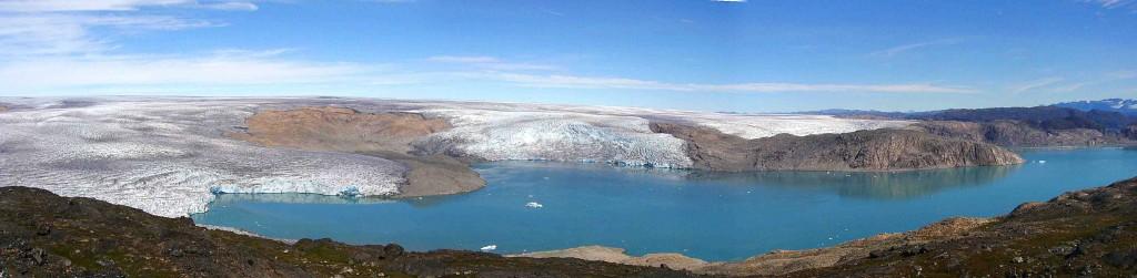 kayak Groenlandia, vista de Fletanes y glaciar inlandis