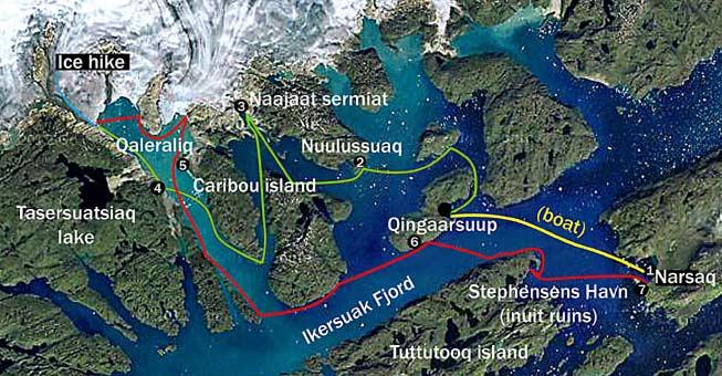 Mapa kayak Groenlandia