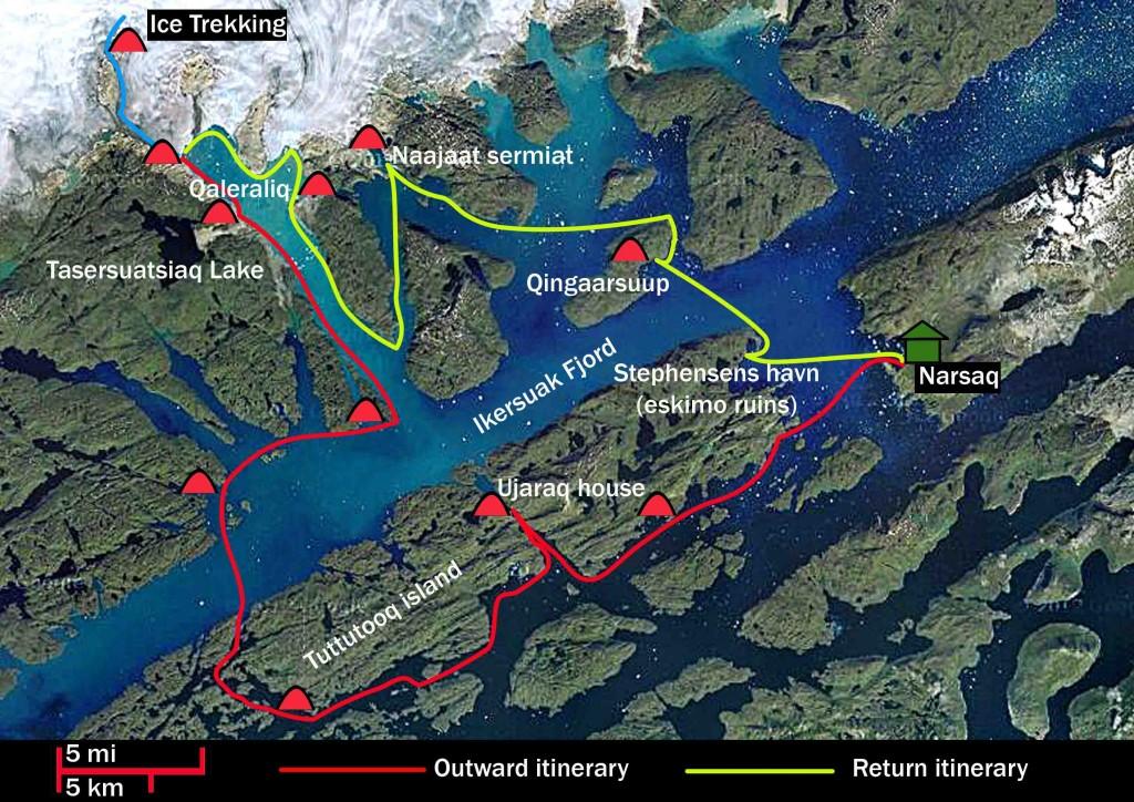 kayak en groenlandia, 15 días mapa ruta trekking