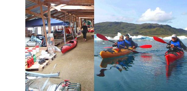 kayak en groenlandia, 15 días almacén Narsaq, icebergs
