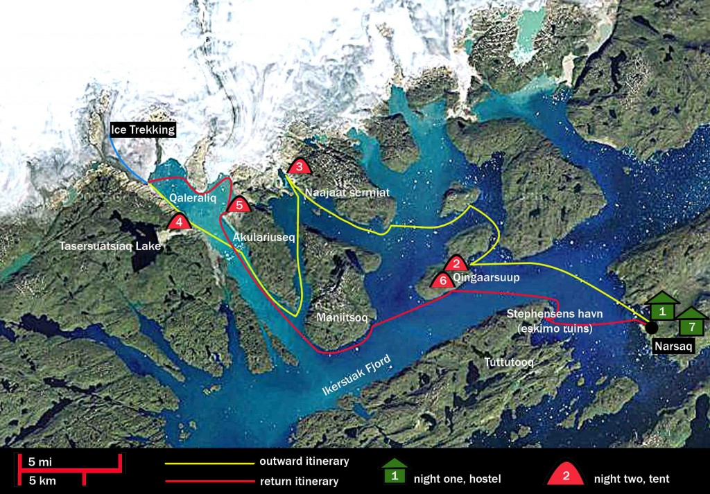 caiac a Groenlàndia 8 dies mapa i trèkking